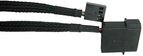 Cable has one motherboard PWM connector plus a 4-pin Molex connector for fan power