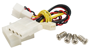 Fan package includes 3-pin to 4-pin Molex adaptor and mounting screws