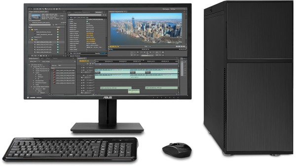 The Videostation in a Nanoxia DS1 Case - Shown with optional monitor and wireless keyboard and mouse